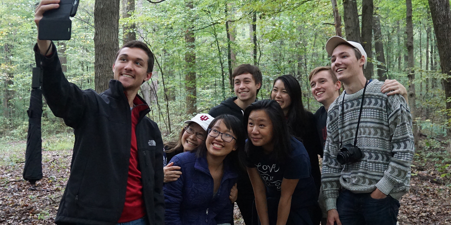 Selfie in the woods with students