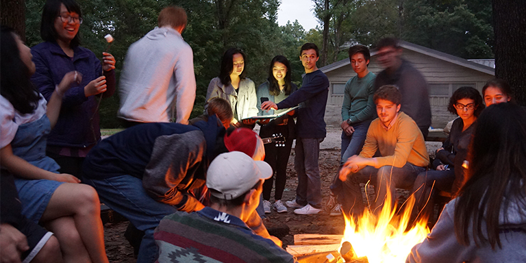 campfire with students